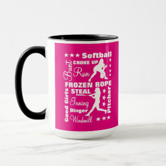 Softball Girls Sports Terminoligy Words Typography Mug