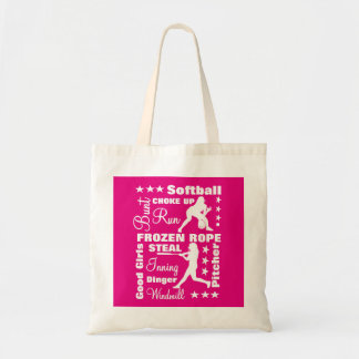 Softball Girls Sports Terminoligy Words Typography Tote Bag