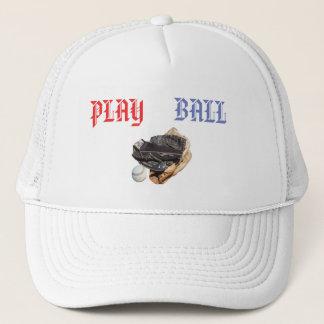 Softball Gloves And Play Ball logo, Trucker Hat