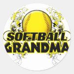 Softball Grandma (cross).png Round Sticker