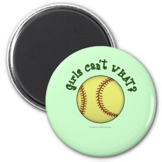 Softball-Green 6 Cm Round Magnet