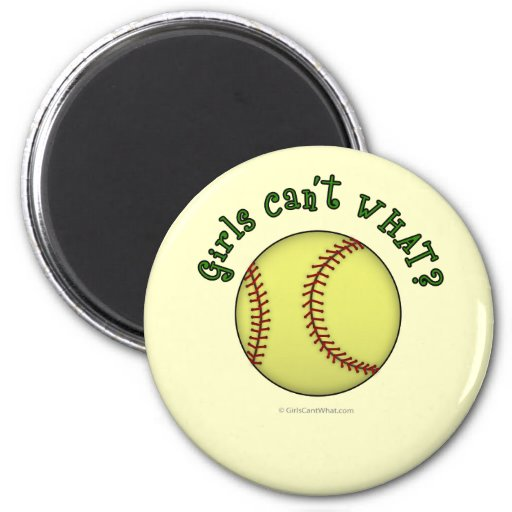 Softball-Green Refrigerator Magnets
