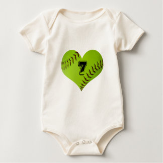 Softball heart baby body suit rompers