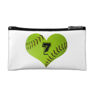 Softball heart cosmetics/pencil bag