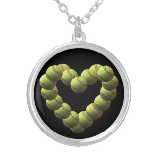 Softball Heart Fastpitch Softball Silver Plated Necklace