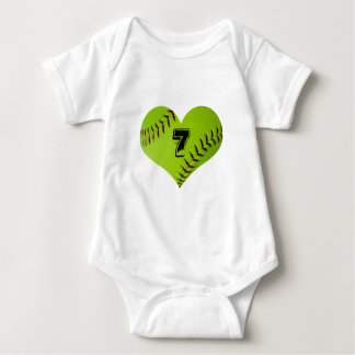 softball heart outfit baby bodysuit