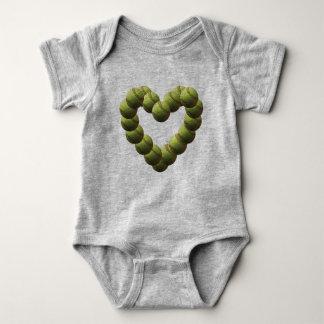 Softball Heart Softballs with Number Baby Bodysuit