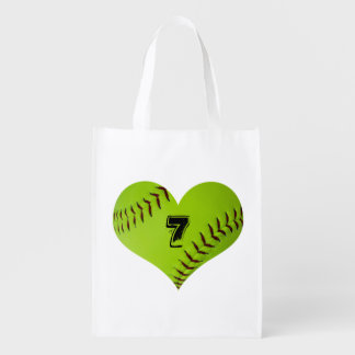Softball heart tote bag.