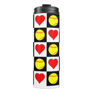 Softball Hearts Thermal Fastpitch Softball Cooler Thermal Tumbler