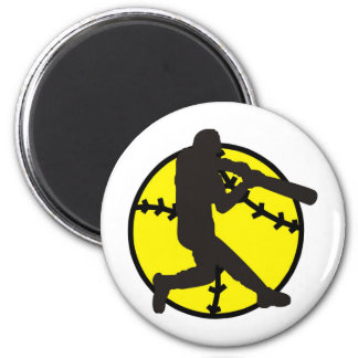 Softball Hitter 6 Cm Round Magnet