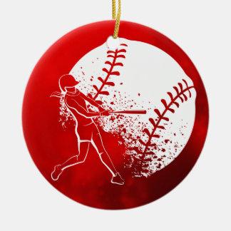 Softball Hitter Christmas Ceramic Ornament