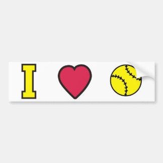 Softball I Heart Bumper Sticker
