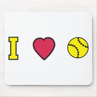 Softball I Heart Mouse Pad