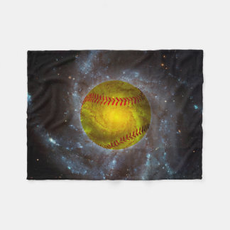 Softball in Space Unique Softball Fleece Blanket
