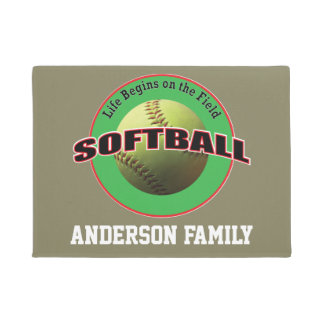 Softball Life Begins on the Field Family Doormat
