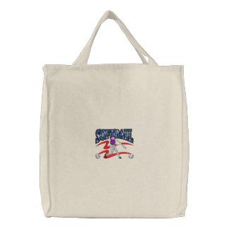 Softball Logo Embroidered Tote Bags