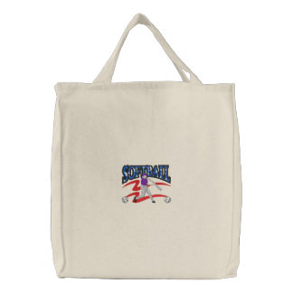 Softball Logo Embroidered Tote Bags