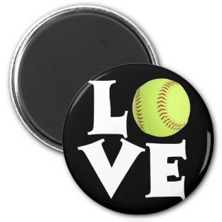 Softball Love 6 Cm Round Magnet