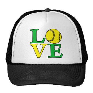 Softball LOVE, green Hats