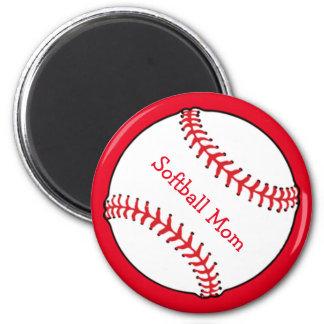 Softball Mom Magnet 2 Inch Round Magnet