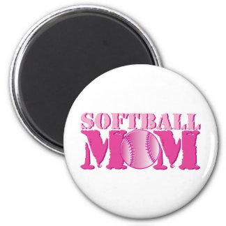 Softball Mom pink 6 Cm Round Magnet
