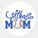 Softball Mum Round Sticker