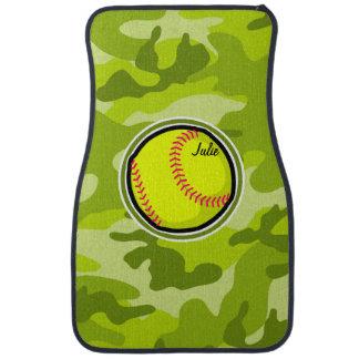 Softball on bright green camo, camouflage floor mat