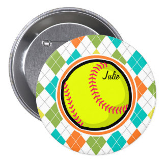 Softball on Colorful Argyle Pattern Pinback Button
