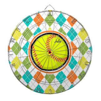 Softball on Colorful Argyle Pattern Dart Board