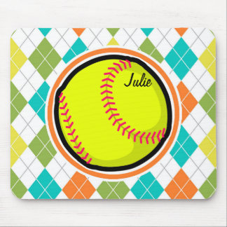 Softball on Colorful Argyle Pattern Mousepad