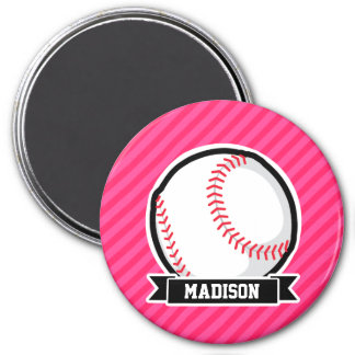 Softball on Pink Stripes Magnet