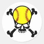 Softball on the brain skull stickers