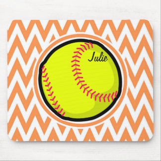 Softball; Orange and White Chevron Mouse Pad
