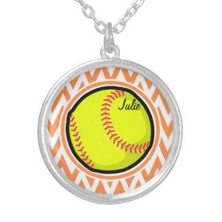 Softball Orange and White Chevron Necklaces