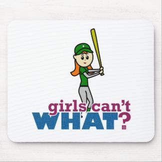 Softball Player Girl in Green Mousepads
