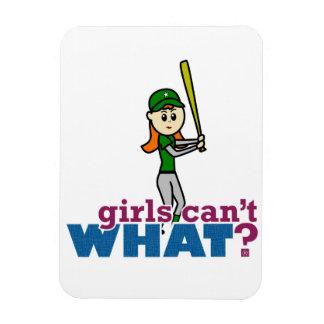 Softball Player Girl in Green Rectangle Magnet