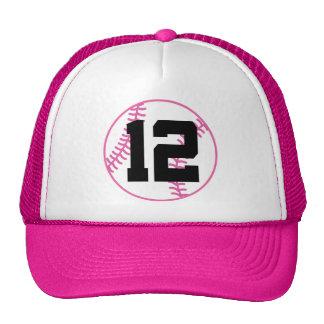 Softball Player Uniform Number 12 Gift Trucker Hats