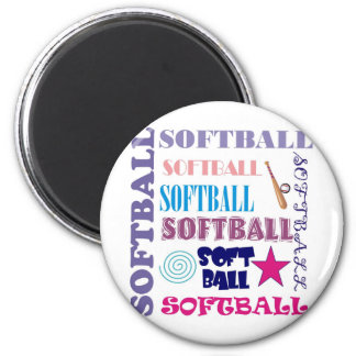 Softball Repeating 6 Cm Round Magnet
