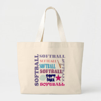 Softball Repeating Large Tote Bag