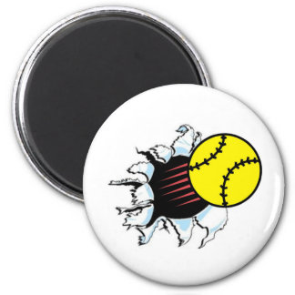 Softball Rip It 6 Cm Round Magnet