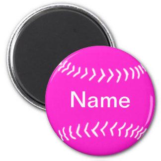 Softball Silhouette Magnet Pink