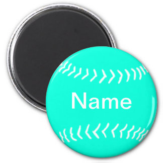 Softball Silhouette Magnet Turquoise