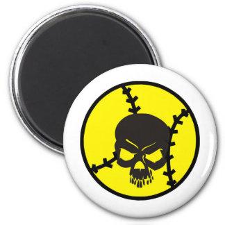 softball Skull 6 Cm Round Magnet