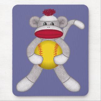 Softball Sock Monkey Mouse Pad