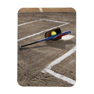 Softball, softball glove and bat at home plate rectangular photo magnet