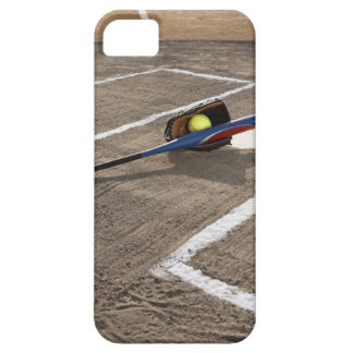 Softball, softball glove and bat at home plate iPhone 5 cases