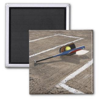 Softball softball glove and bat at home plate fridge magnets