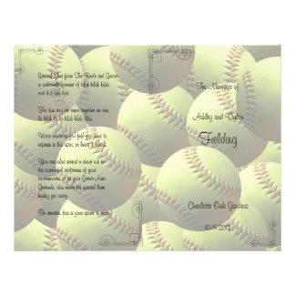 Softball Sports Wedding Theme Wedding Program Personalized Flyer
