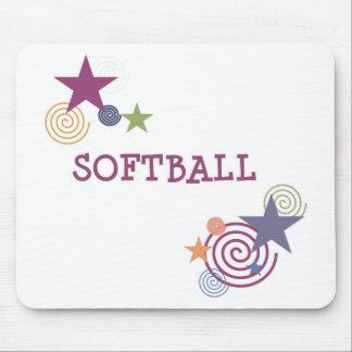Softball Swirl Mouse Pads