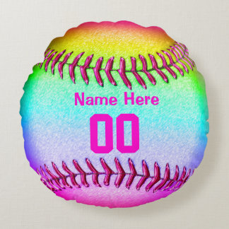 Softball Team Gifts with Her Name and Number Round Pillow